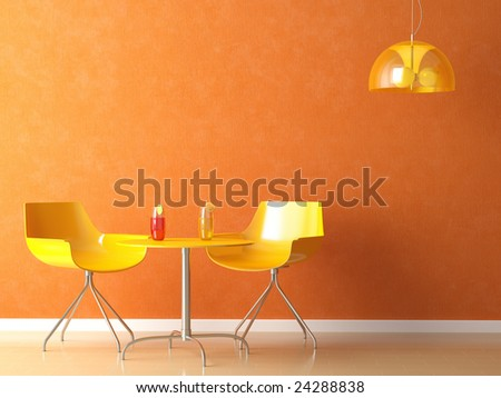 3D render scene of a modern coffee-shop table and chair in orange and yellow colors