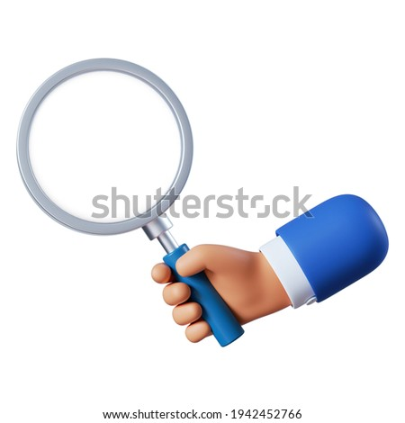 3d render. Search icon. Cartoon character hand holds big magnifying glass lens. Business of science clip art isolated on white background