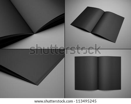 3d render set  black booklet