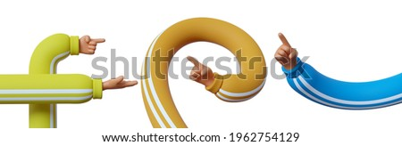 3d render, set of cartoon character hands, clip art isolated on white background. Assorted gestures.