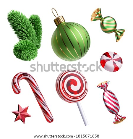 3d render, set of Christmas tree ornaments: glass ball, star, candy cane, caramel sweets, evergreen spruce twig. Decorative elements collection, festive clip art isolated on white background.