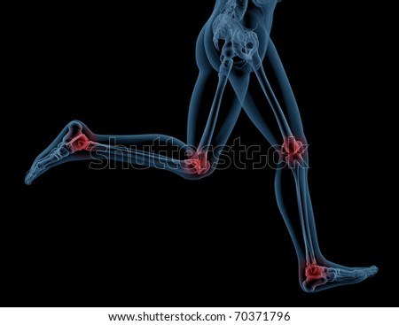 3D render showing the legs of a medical skeleton running with pressure points highlighted
