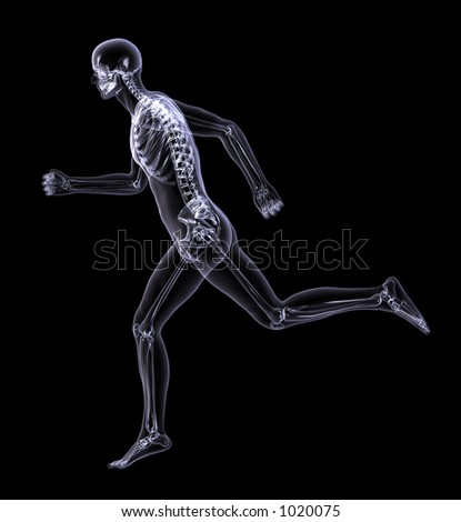 3D render simulating an Xray image of a man running - side view.