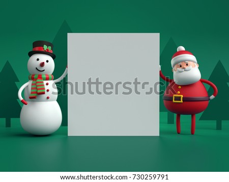 3d render, snowman and Santa Claus, toys, holding white paper sheet, blank page, square card, green background
