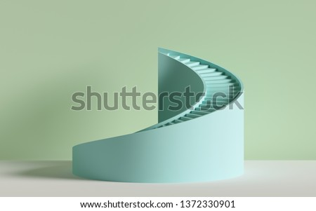 3d render, spiral stairs, steps, cylinder, abstract background in pastel colors, minimal scene stock photo