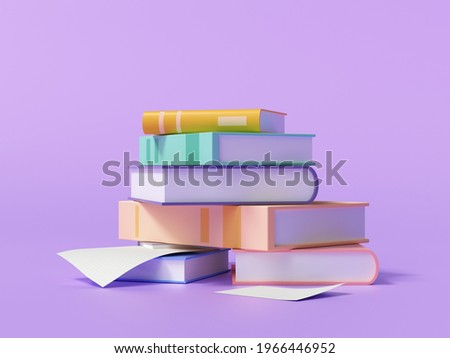 3d render stack of books and paper on purple background,