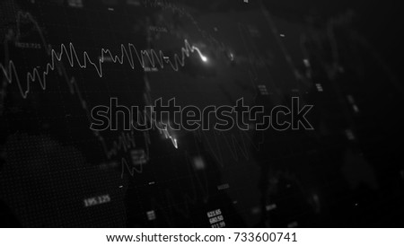 3d render. Statistic graph of stock market data and financial analysis. Stock market graph. Financial statistic analysis on dark background with growing financial charts. Big data on LED panel