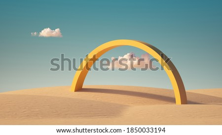 3d render, Surreal desert landscape with yellow arch and white clouds in the blue sky on sunny day. Modern minimal abstract background