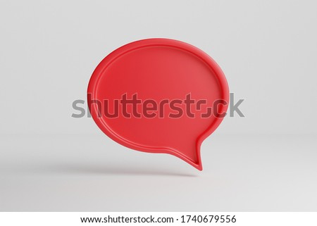 3D render talk ballon background. Space for a icon over a red tray