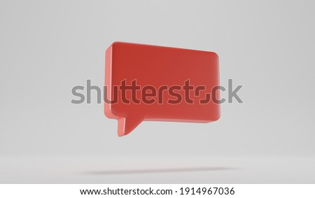 3D render talk square retangle ballon over a white background. Space for a icon over a red tray