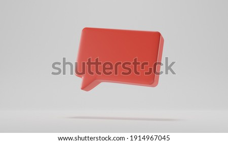 3D render talk square retangle ballon over a white background. Space for a icon over a red tray Stock photo ©