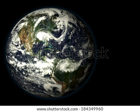 3D render the planet earth on a black background, high resolution