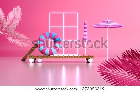 3d render travel vacations image Colorful design Sunny tropical lifestyle still life vacation composition umbrella sunbath lounge chillout