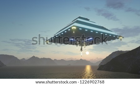 3d render UFO in the shape of a pyramid over the sea and mountains