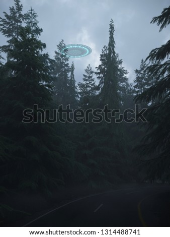 3D render UFOs over the old road