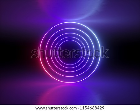 3d render, ultraviolet, neon lights, glowing rings, round lines, tunnel, abstract background, circles, red blue spectrum, virtual reality, vibrant colors, laser show