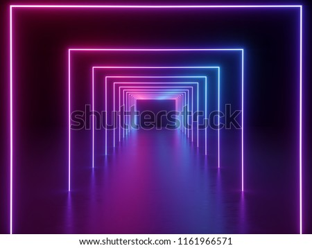 3d render, ultraviolet neon square portal, glowing lines, tunnel, corridor, virtual reality, abstract fashion background, violet neon lights, arch, pink blue spectrum vibrant colors, laser show