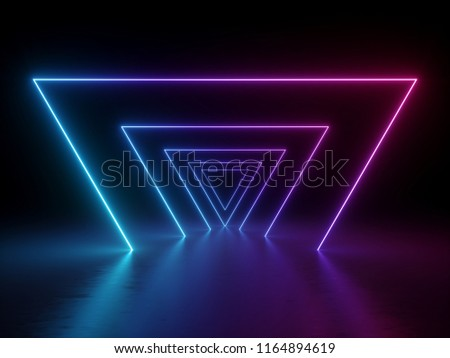 3d render, ultraviolet neon triangular portal, glowing lines, tunnel, corridor, virtual reality, abstract fashion background, violet neon lights, arch, pink blue spectrum, purple triangle, laser show