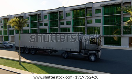 3D RENDER VIEW OF TRUCK ON ROAD PALM TREE  IN FROT OF APPARTMENT Foto stock ©