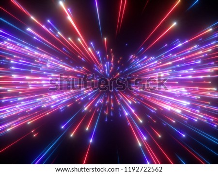 3d render, violet red fireworks, abstract cosmic background, big bang, galaxy, falling stars, celestial, beauty of universe, speed of light, neon glow, cosmos, ultraviolet infrared light, outer space
