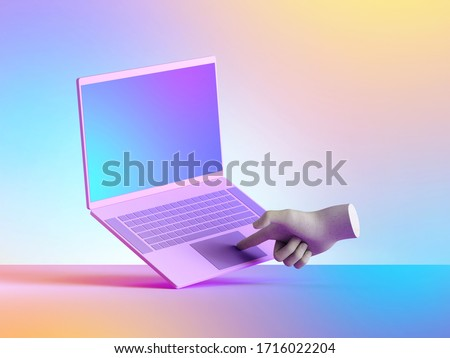 3d render virtual artificial hand, laptop touch pad. Blank display, electronic device isolated on colorful background. Mannequin body parts. Futuristic technology concept. Digital illustration