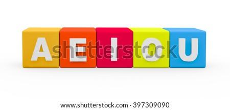 3d render vowel letters AEIOU building blocks on a white background.