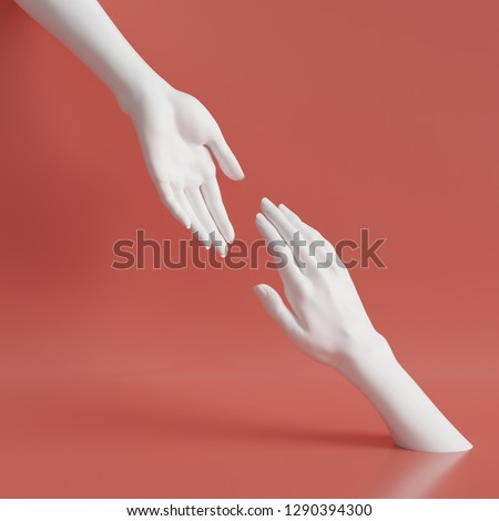 3d render, white female hands isolated on coral red minimal fashion background, helping hands, mannequin body parts, partnership concept