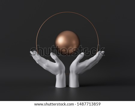 3d render, white female mannequin hands isolated on black background, holding gold ball, body parts, fashion concept, esoteric fortuneteller, sacred geometry, global care symbol, clean minimal design