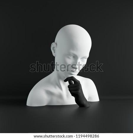 3d render, white female mannequin head, hand, fashion concept, isolated object, black background, shop display, body parts, pastel colors