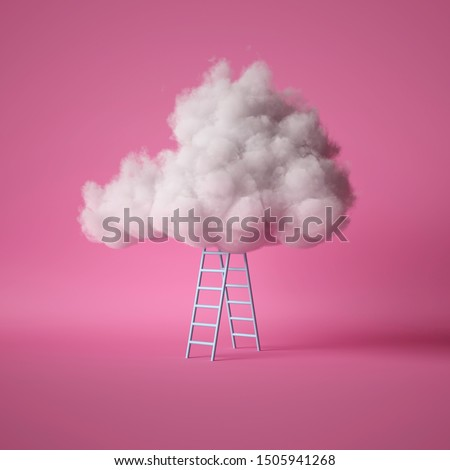 3d render, white fluffy cloud above the blue ladder, isolated on pink background stock photo