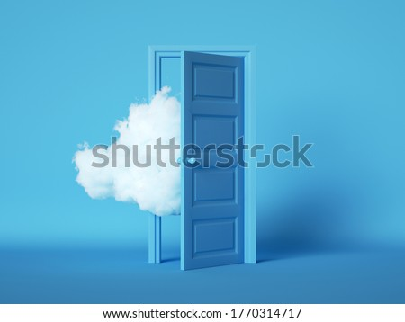 3d render, white fluffy cloud going through, flying out the open door, objects isolated on blue background. Modern minimal concept. Surreal dream scene. Abstract door to haven metaphor