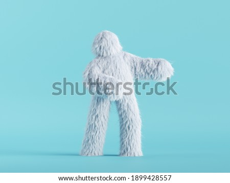3d render, white hairy yeti stands, furry bigfoot toy, funny winter monster cartoon character isolated on mint blue background, standing pose Foto stock ©