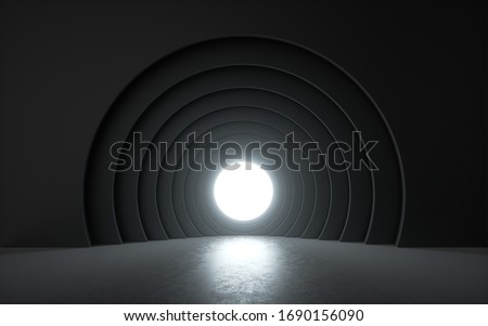 3d render, white light shining through small round window in the black room. Square geometric frame, empty theater stage with floor reflection