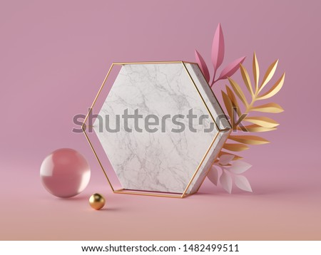 3d render, white marble hexagon honeycomb shape, blank polygonal banner mockup, simple geometrical objects isolated on rose pink background, abstract luxury concept, glass gold ball, paper palm leaves