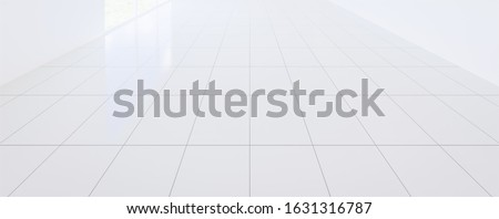 3d render white tile floor new clean and shiny reflection,  Symmetry grid line texture in perspective view for background, Square shape of tile with perspective straight grid line on white background.