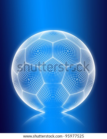 3d render wireframe football on blue background.