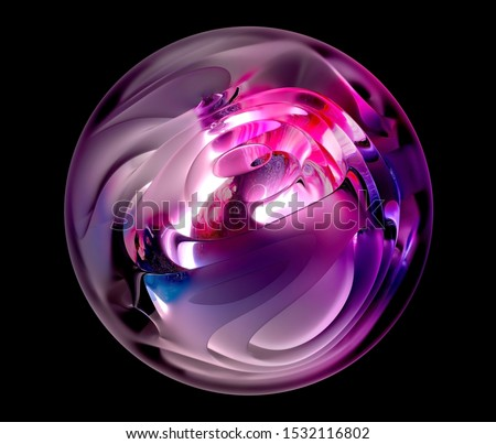 3d render with abstract art glass sphere based on curved smooth organic forms with matte and glossy surface and neon pinky glowing light inside and organic texture on it, on black background