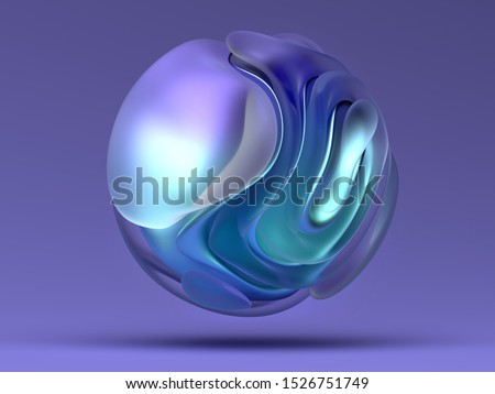 3d render with abstract art piece sculpture 3d ball with matte glass and purple blue gradient metal material in organic curved forms and purple background