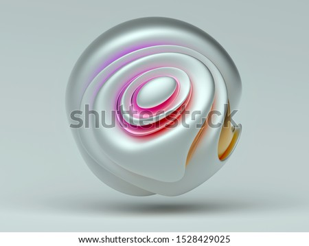 3d render with abstract art sculpture of ball in smooth soft curved organic forms in white matte and glossy material with pink to orange color gradient on white background stock photo