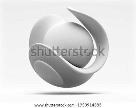 3d render with abstract black and white monochrome art piece of surreal sculpture in spherical organic curve wavy smooth and soft biological shape in white matte ceramic material on white background