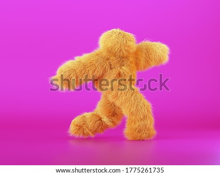 3d render, yellow furry beast cartoon character walking or dancing, isolated on pink background, active posing. Fluffy plush toy. Man wearing halloween costume of a hairy monster Photo stock ©