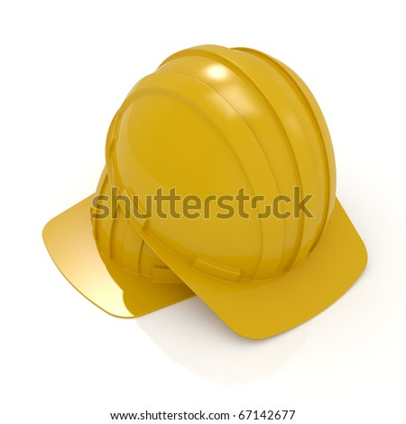 3d render yellow hard hats isolated on white