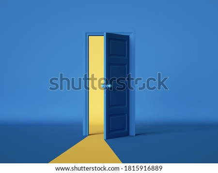 3d render, yellow light going through the open door isolated on blue background. Architectural design element. Modern minimal concept. Opportunity metaphor.