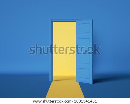 3d render, yellow light inside the open door isolated on blue background. Room interior design element. Modern minimal concept. Opportunity metaphor.