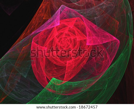 3D rendered abstract fractal,red rose like, isolated on black background.