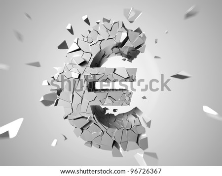 3d rendered abstract illustration of a broken euro sign - stock photo