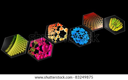 3D rendered abstract scientific nanotechnology  composition on black