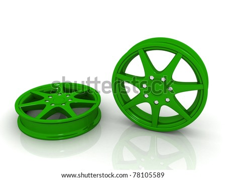 3d rendered alloy wheels isolated on white background