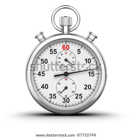 3D rendered analog stop watch. - stock photo