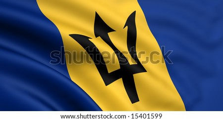3d rendered and waving flag of barbados